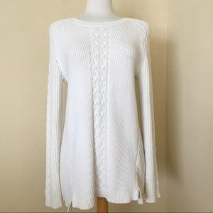 Nautica Women's Cable Tunic Sweater Cream Size XL